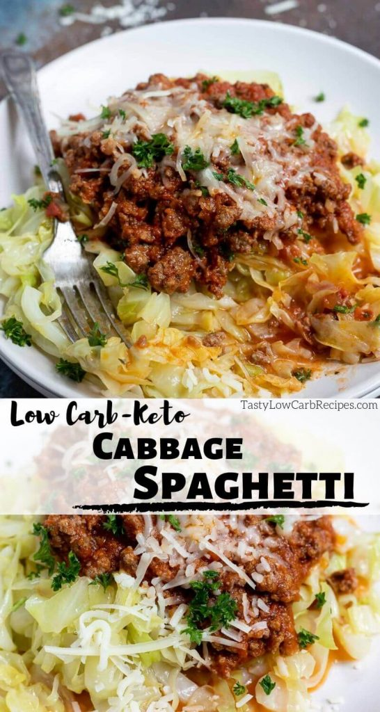 low carb spaghetti with cabbage photo collage