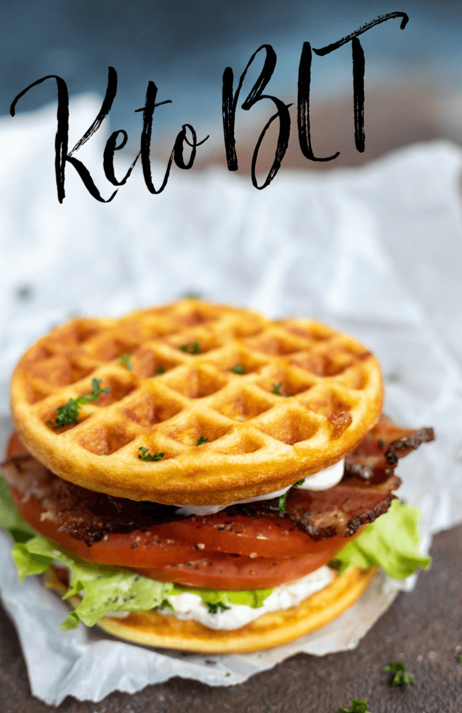 keto bacon lettuce tomato sandwich on Chaffles