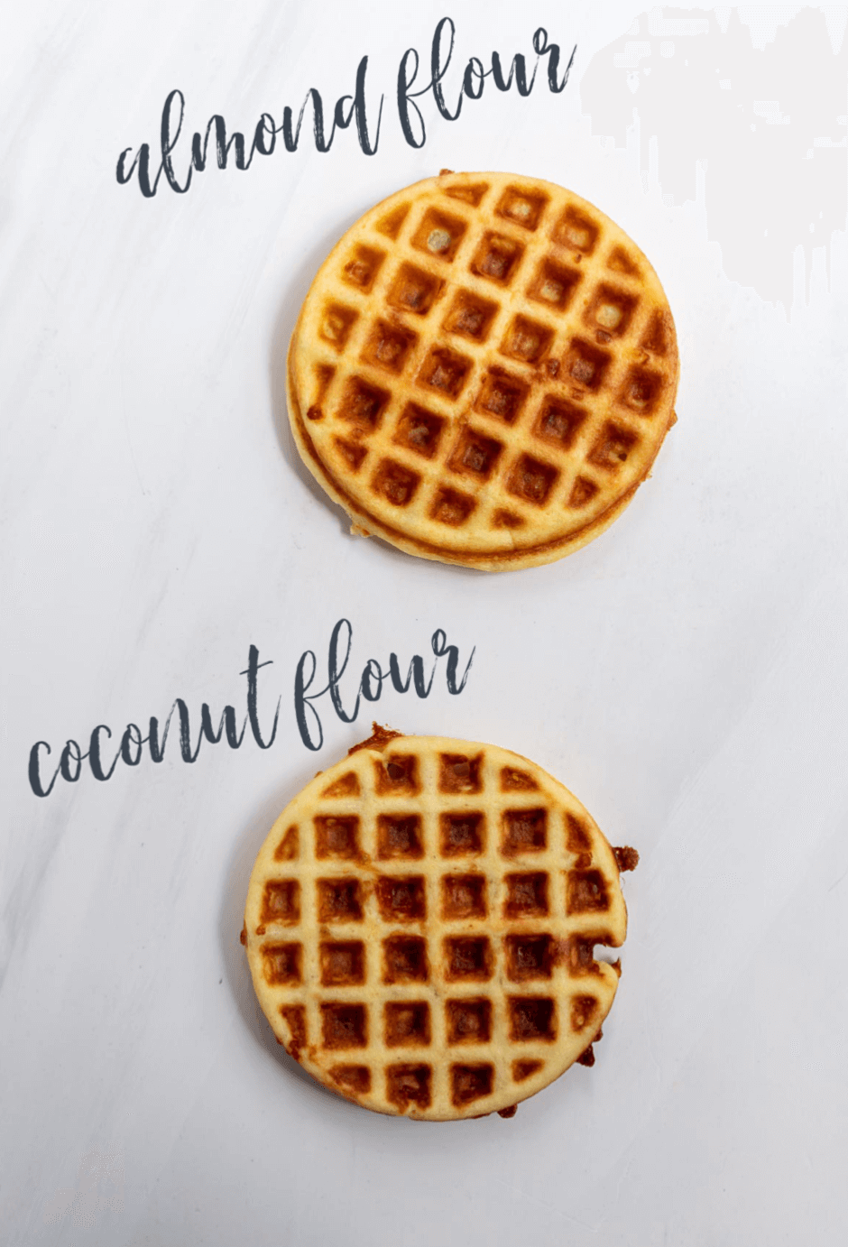 2 waffles labeled as almond flour and coconut flour