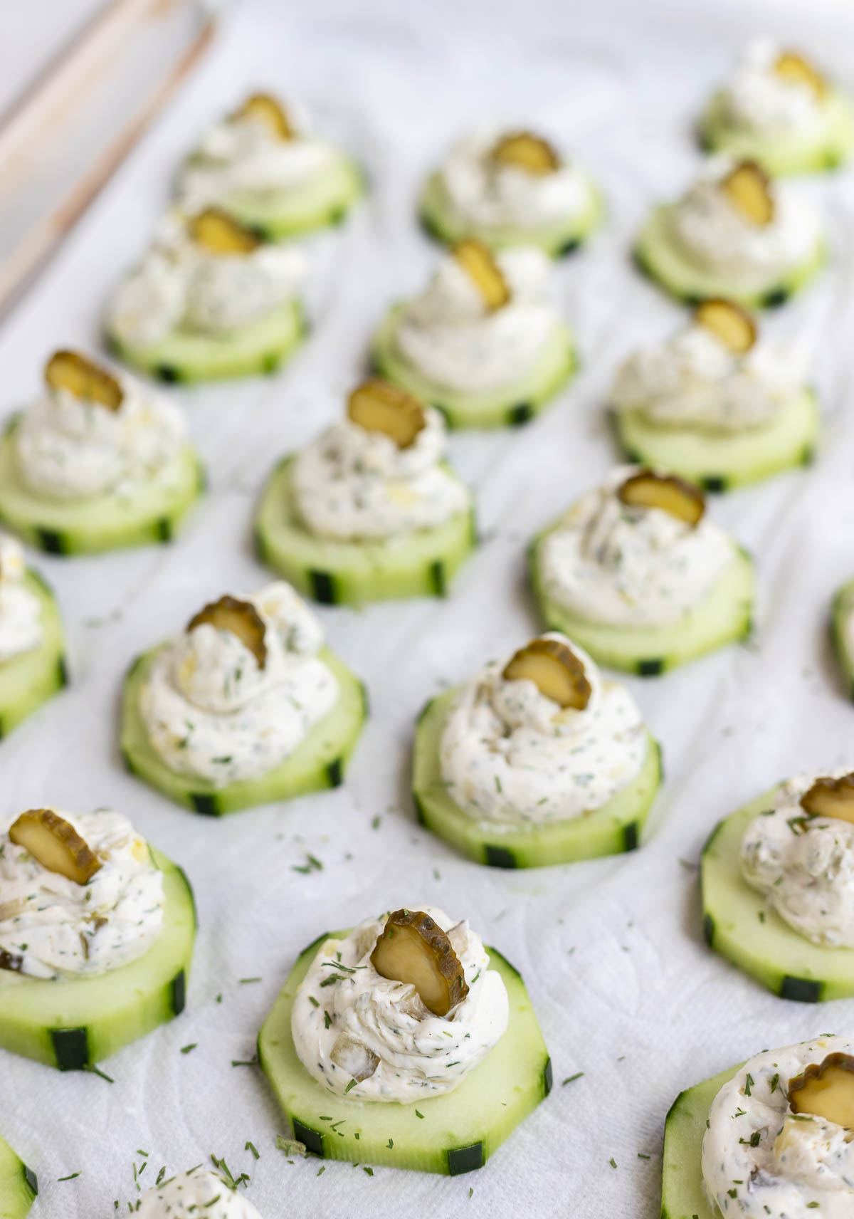 cream cheese and pickle topped cucumbers