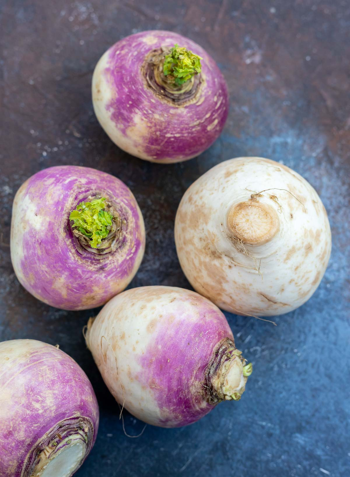 whole white turnips with purple tops