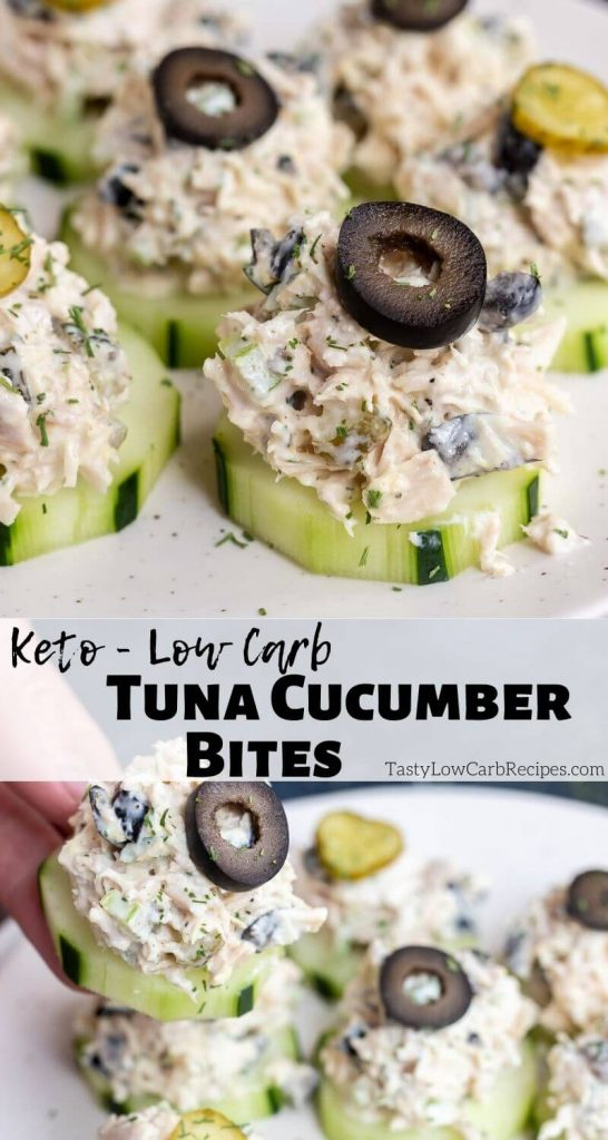 easy tuna salad cucumber bites pinnable photo collage with recipe title text