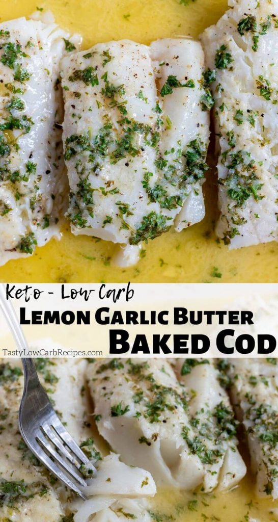 garlic lemon baked cod in butter pinnable photo collage with recipe title text