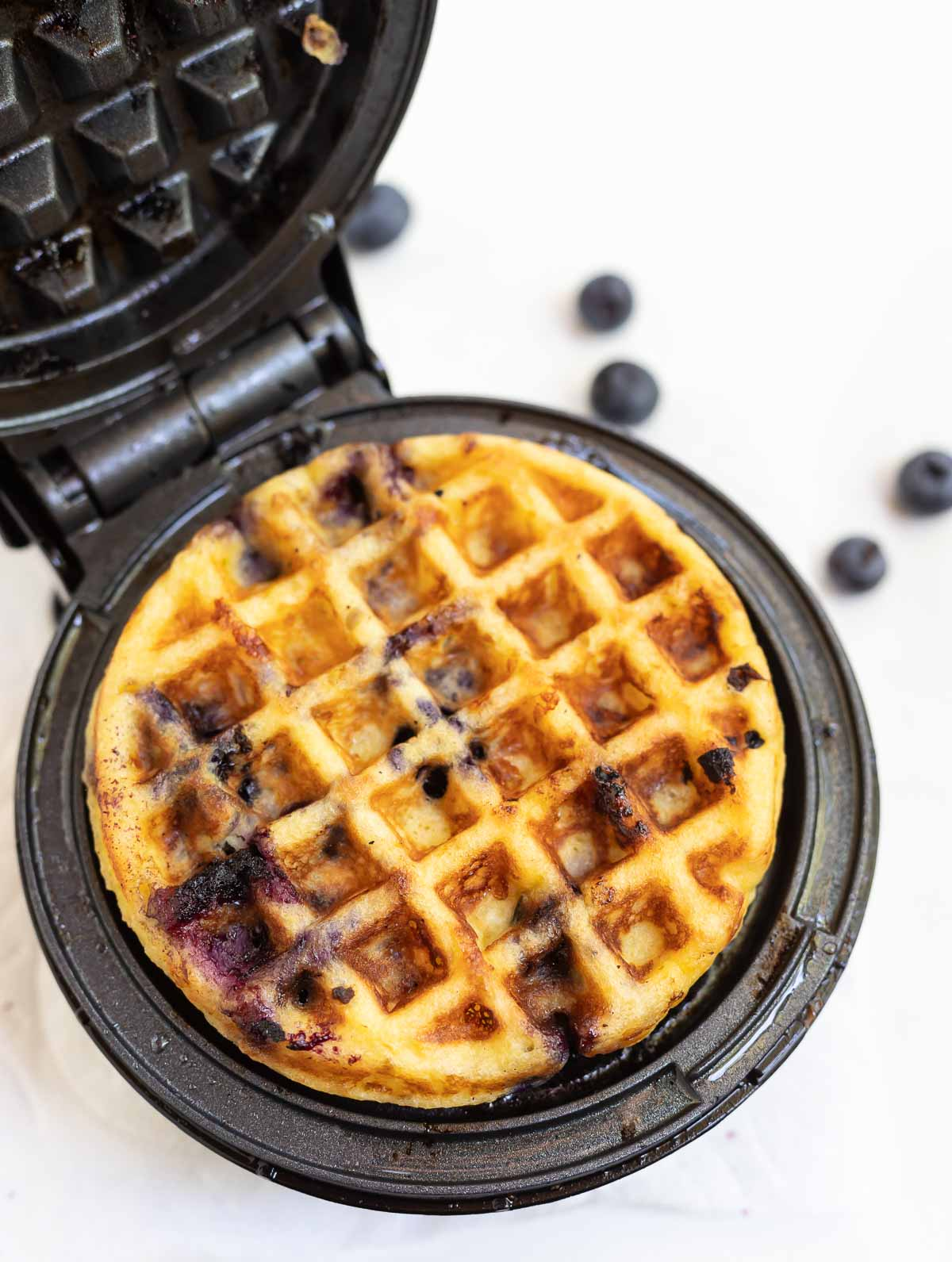 blueberry Chaffle in black mini waffle maker