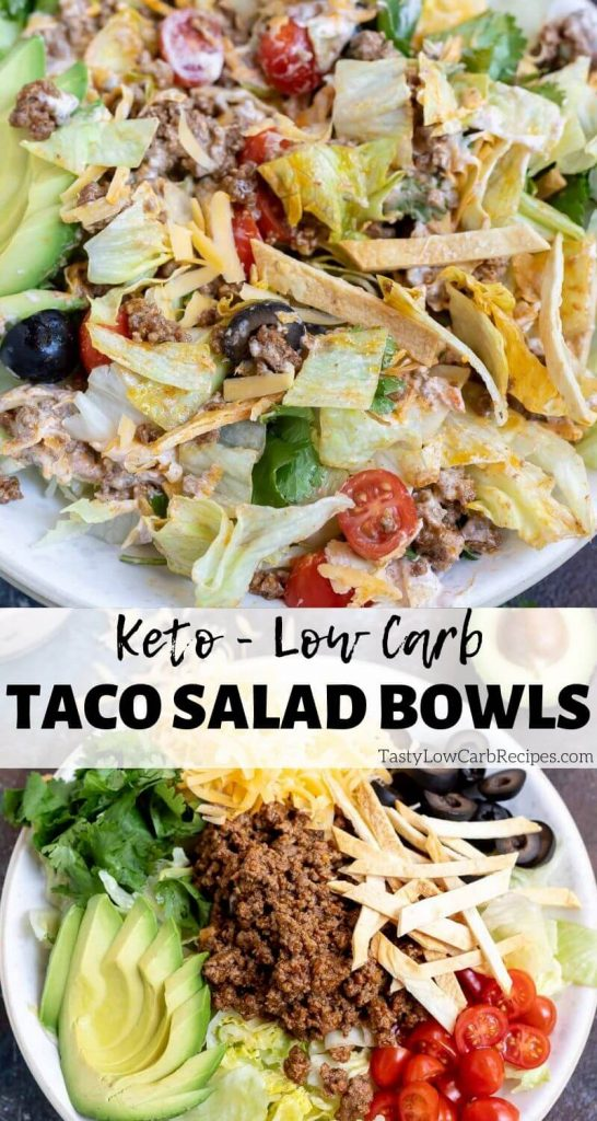 low carb taco salad bowl pinnable photo collage with recipe title text