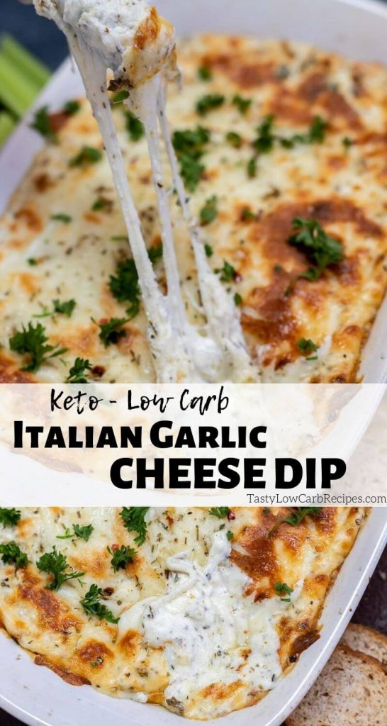 keto low carb Italian garlic cheese dip pinnable photo collage with recipe title text