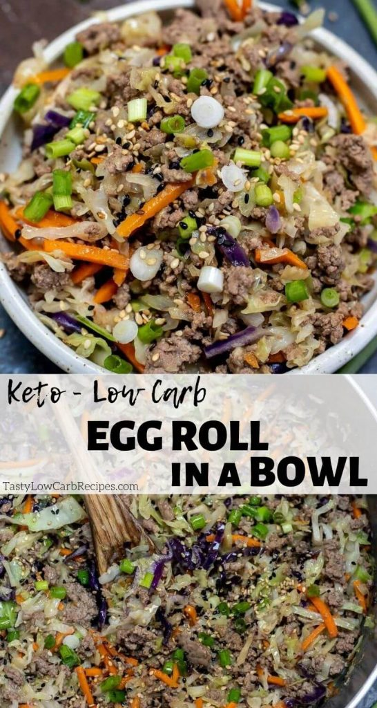 Keto Egg Roll In A Bowl Recipe pinnable photo collage with recipe title text