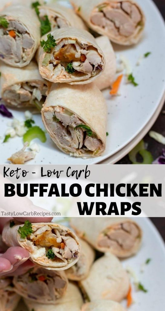 Low Carb Buffalo Chicken Wrap Recipe pinnable photo collage with recipe title text