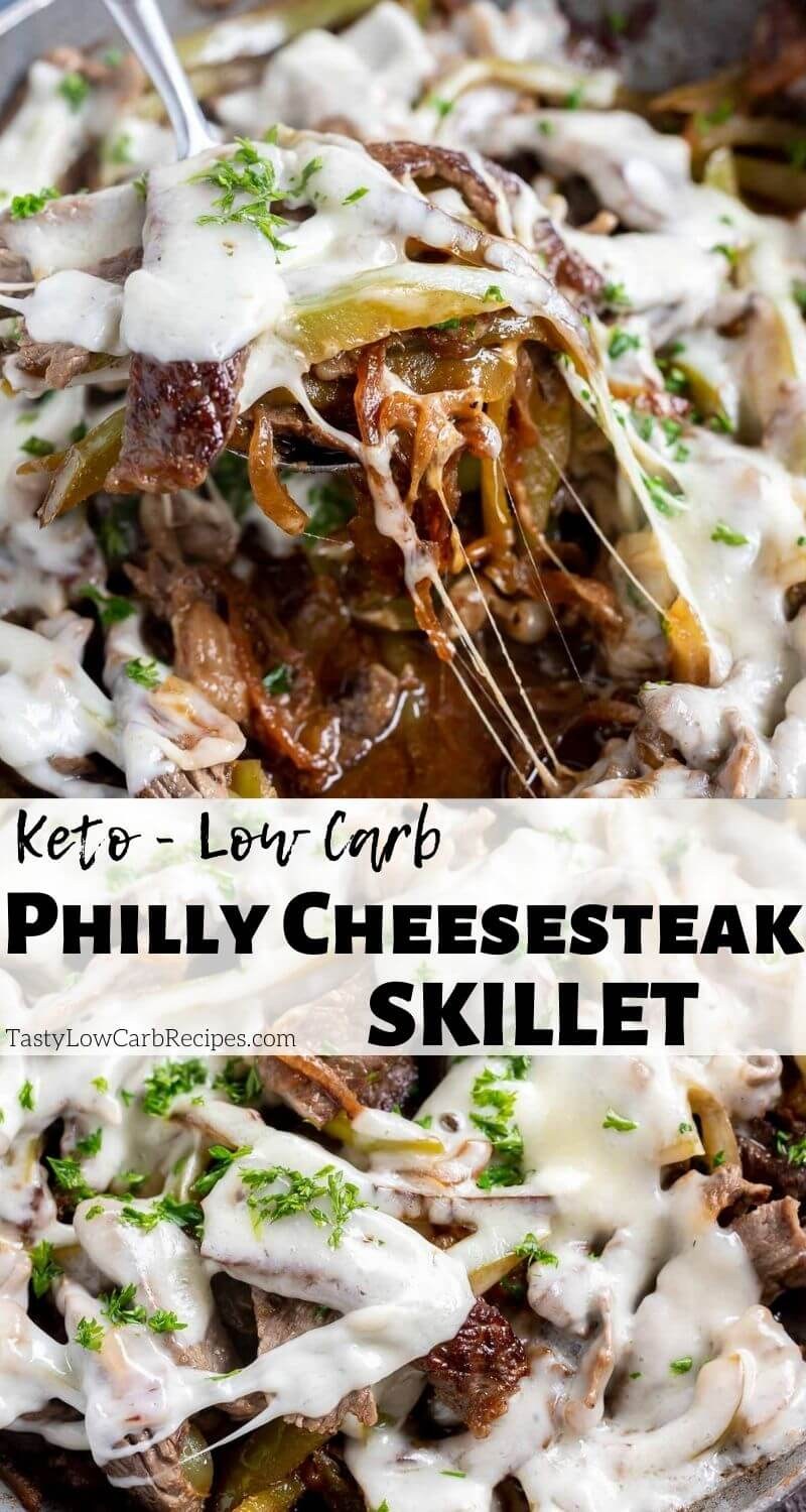 low carb Philly cheesesteak skillet pinnable photo collage with recipe title text