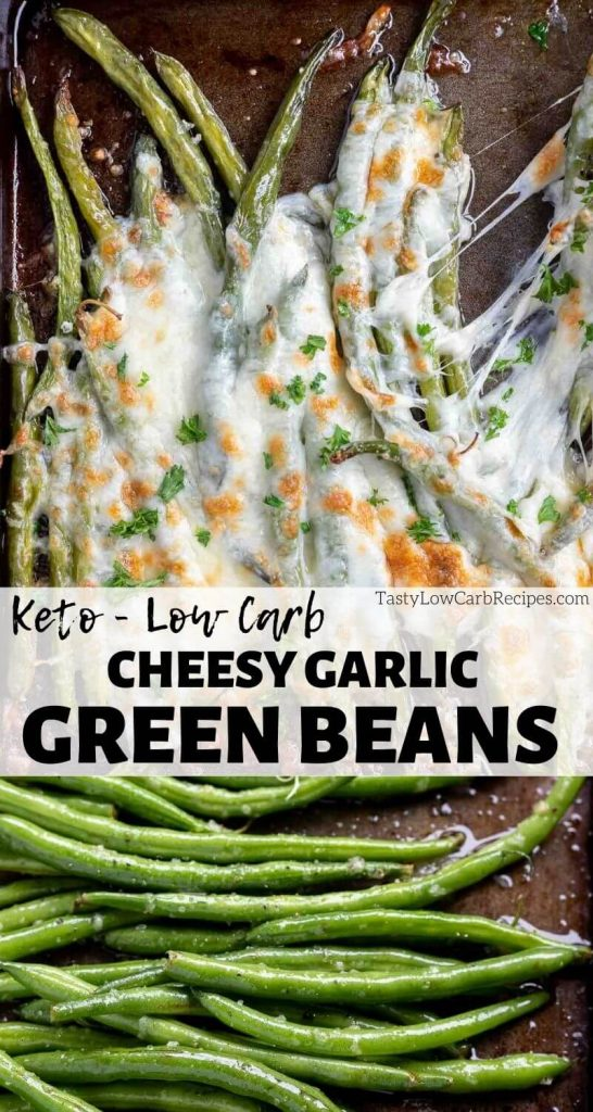 keto green beans pinnable image with text