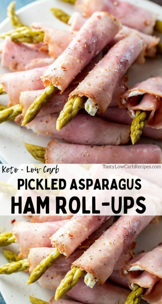 asparagus ham roll ups pinnable image with title text